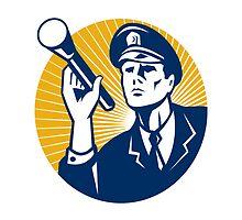 Policeman Security Guard With Flashlight Retro by patrimonio