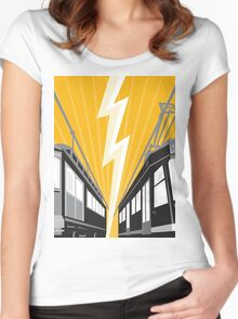 Vintage and Modern Streetcar Tram Train Women's Fitted Scoop T-Shirt