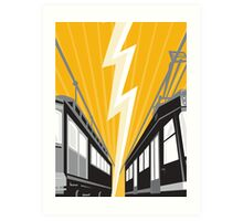 Vintage and Modern Streetcar Tram Train Art Print