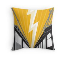 Vintage and Modern Streetcar Tram Train Throw Pillow