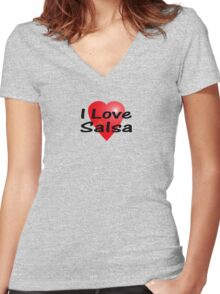 I Love Salsa Sticker T-Shirt Latin Dance Skirt Women's Fitted V-Neck T-Shirt