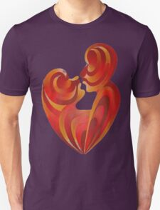 Lovers Kiss And Their Bodies Form A Love Heart Isolated T-Shirt
