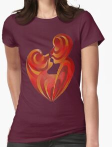 Lovers Kiss And Their Bodies Form A Love Heart Isolated Womens Fitted T-Shirt
