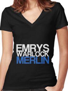 Emrys, Warlock, Merlin Women's Fitted V-Neck T-Shirt
