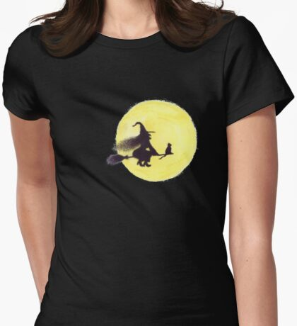 FLYING BY THE FULL MOON Womens Fitted T-Shirt