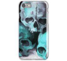 Happy Halloween Pile of Skulls in Teal  iPhone Case/Skin