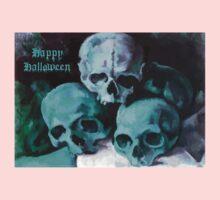 Happy Halloween Pile of Skulls in Teal  Kids Tee