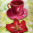 Tea with sugar cubes and fiery red lilies by didielicious