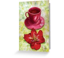 Tea with sugar cubes and fiery red lilies Greeting Card