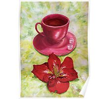 Tea with sugar cubes and fiery red lilies Poster