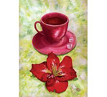 Tea with sugar cubes and fiery red lilies Photographic Print