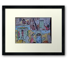 Jimmy and Kev take the lift Framed Print