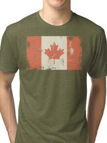 Grungy Canadian Flag Tri-blend T-Shirt