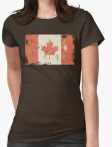 Grungy Canadian Flag Womens Fitted T-Shirt