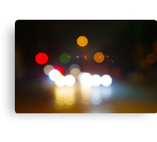 Abstract night scene on city road Canvas Print