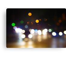 Abstract blurred night scene on city road Canvas Print