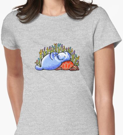 Sea Turtle and Manatee Womens Fitted T-Shirt