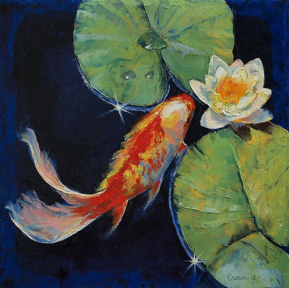 Koi and white lily by michael creese redbubble for Japanese fish painting