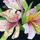 Pink and Yellow Lilies by Esmee van Breugel