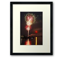 Moonrise Fireworks Framed Print