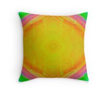 Psychedelic Sunburst - Bright Yellow & Green Throw Pillow