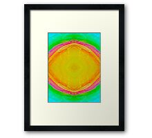 Psychedelic Sunburst - Bright Yellow & Green Framed Print