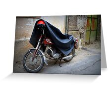 Old motorbike with red helmet and cape, Portugal Greeting Card
