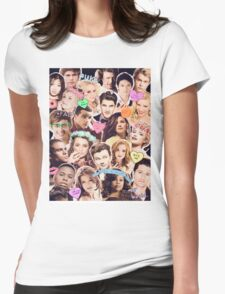 glee cast collage Womens Fitted T-Shirt