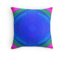 Psychedelic Sunburst - Bright Pink & Blue Throw Pillow