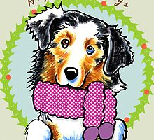 Australian Shepherd Happy Howlidays Christmas Card by offleashart