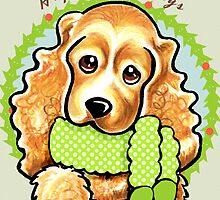 Cocker Spaniel Happy Howlidays Christmas Card by offleashart