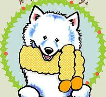 Samoyed Happy Howlidays Christmas Card by offleashart