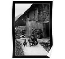 Father & his children - Cat Cat Village Sapa - Vietnam Poster