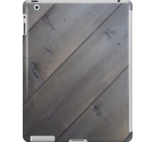 Dark background of the diagonal of the old pine planks iPad Case/Skin