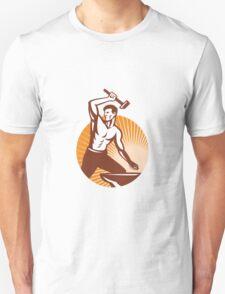 Blacksmith With Hammer Striking Anvil Retro Unisex T-Shirt