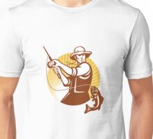 Fly Fisherman Fishing Retro Woodcut Unisex T-Shirt