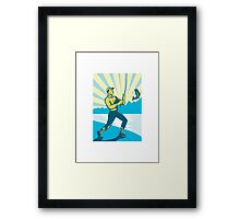 Fly Fisherman Fishing Retro Woodcut Framed Print
