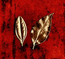 Bronze Leaves on Red by Dolly Mohr
