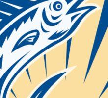 Blue Marlin Jumping Circle Retro Sticker