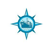Passenger Cargo Ship Ocean Liner Compass Photographic Print