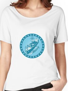Container Ship With Anchor Stars Retro Women's Relaxed Fit T-Shirt
