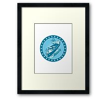 Container Ship With Anchor Stars Retro Framed Print