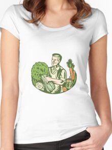 Organic Farmer Green Grocer With Vegetables Retro Women's Fitted Scoop T-Shirt