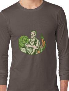 Organic Farmer Green Grocer With Vegetables Retro Long Sleeve T-Shirt