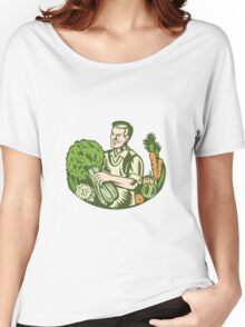 Organic Farmer Green Grocer With Vegetables Retro Women's Relaxed Fit T-Shirt
