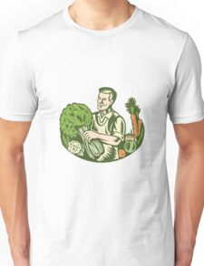 Organic Farmer Green Grocer With Vegetables Retro Unisex T-Shirt