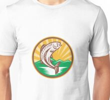 Trout Jumping Up Retro Woodcut Unisex T-Shirt