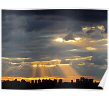 Autumn sunset in New York City  Poster