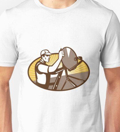 Satellite Installation Worker Brown Unisex T-Shirt