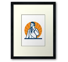 Scientist Talking on the Phone Framed Print